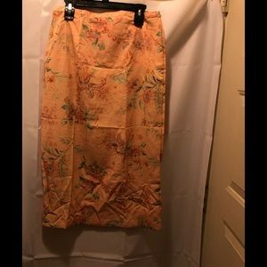 NWT Alfred Dunner peach floral long skirt size 12